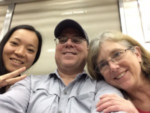 Miharu, Pete, and Denise on the train from Narita Airport.