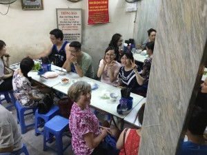 Denise, Thao and Tham about to enjoy some delicious Hanoi street food.
