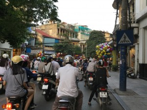 Typical Hanoi traffic, as seen from our cycle-rickshaw.