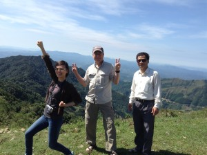 here we are on the top of the mountain with Thao and her father