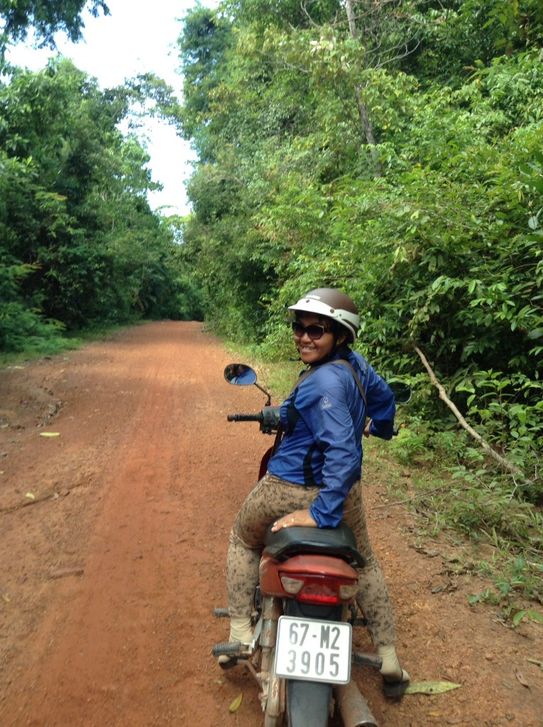 Our amazing guide Thi! We are riding through the forested area.