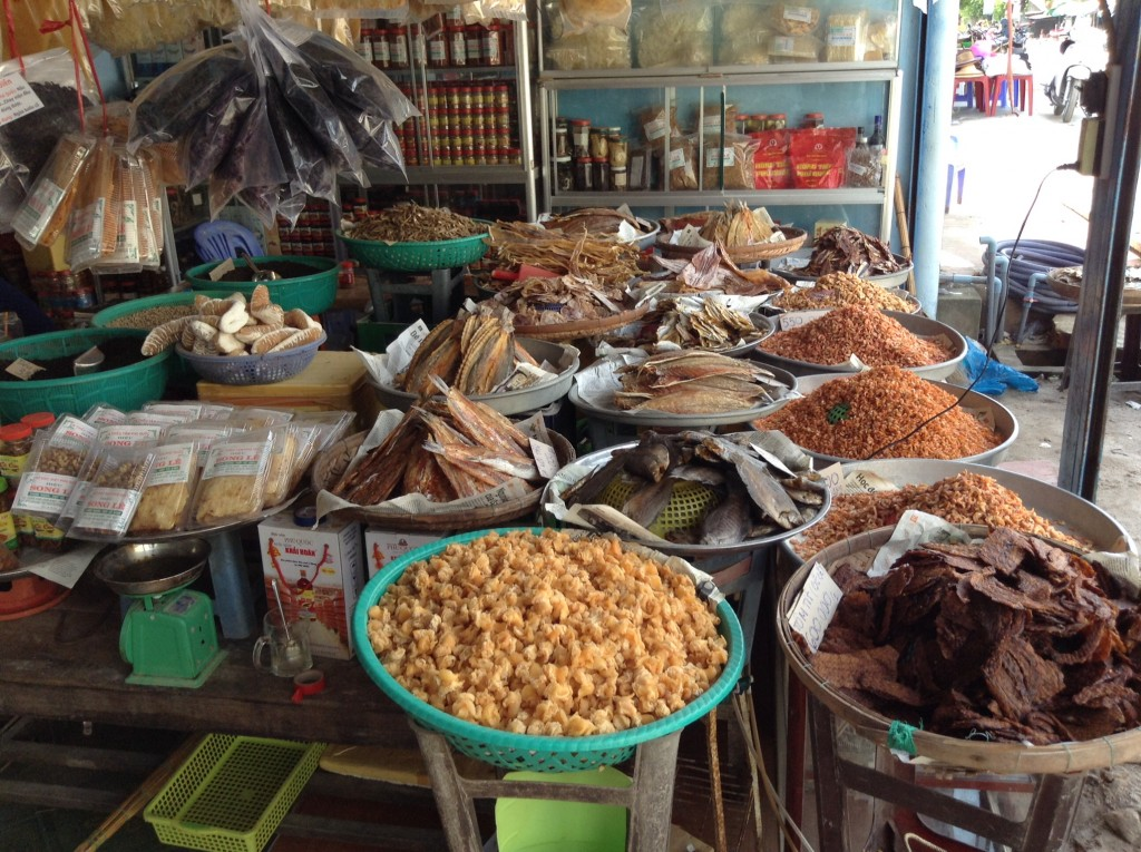 A variety of dried fish at a local market.