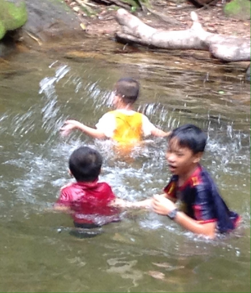 Boys playing in the waterfall on the island.