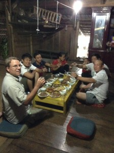 Sharing a family meal at the homestay.