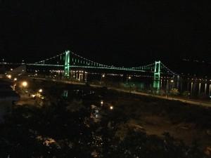 The bridge lit up at night!
