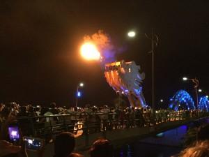 Dragon bridge breathing fire!