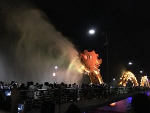 The dragon breathes steam!