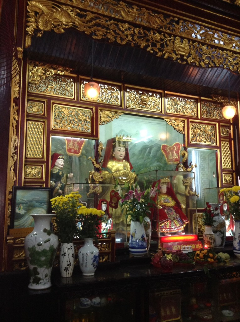 Inside one of the Buddist temples in Hoi An.