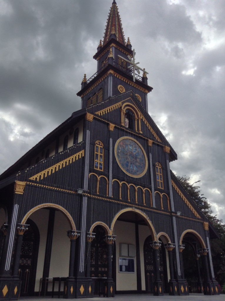 A Catholic church made completely of wood.