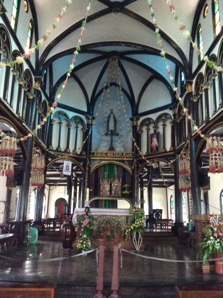 The inside of the wooden church.