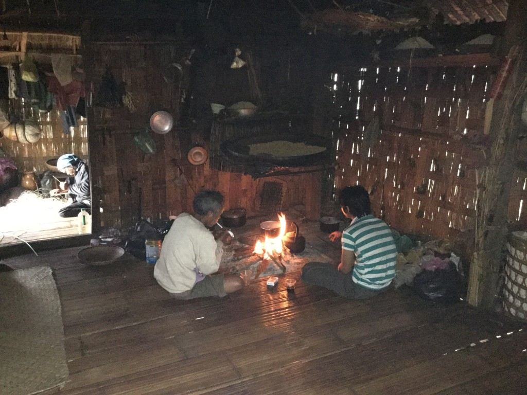 """The fire pit was in the house. These fire pits often burn down a house in the village. The people say to the fire """"Don't eat my house"""". We were glad to have a fire warmng the home due to a cool night."""