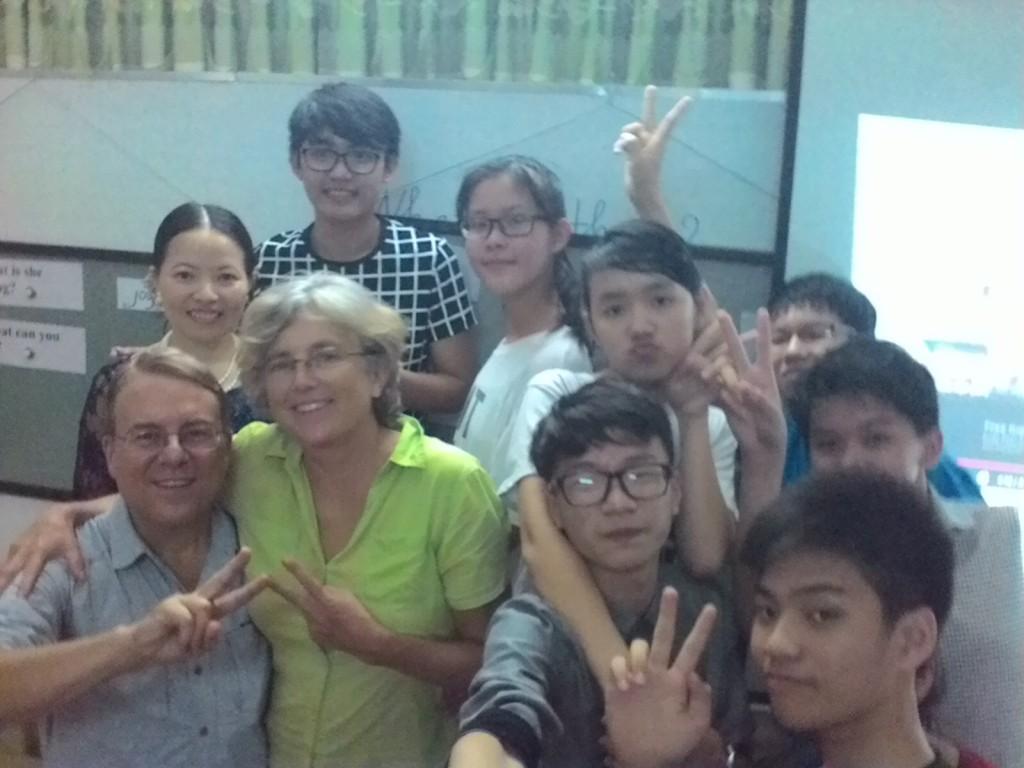 Having fun with Mrs. Chungs class. We sang Karaoke to Vietnamese and American classics.