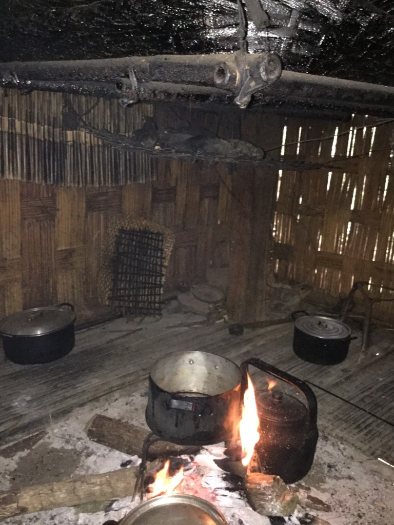 A close up on the bamboo platform used to smoke small game. If you look closely, you can see small game in the bamboo!