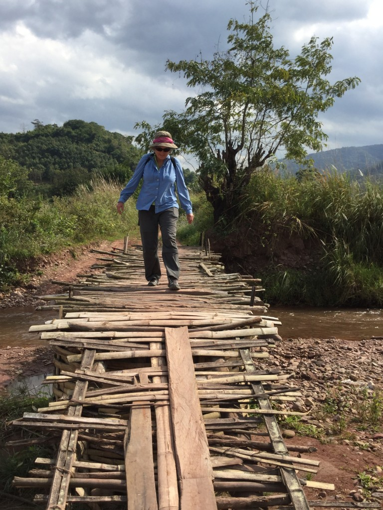 A typical bridge on the road. We walked gingerly across it, while the locals zoomed across on their motorbikes.