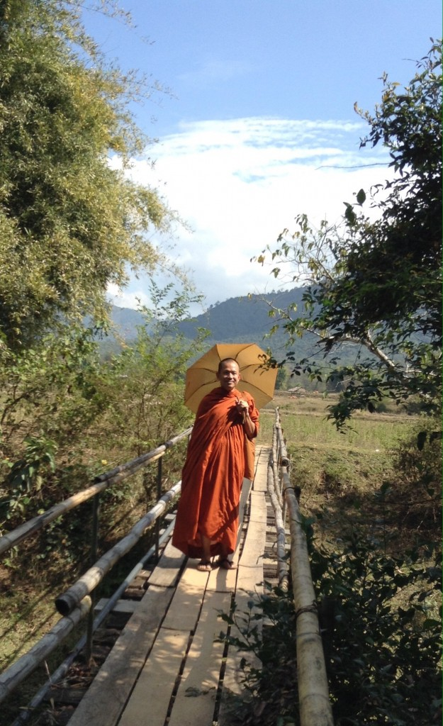 On the bridge on the way to jar site 3. This monk took Denise's picture so she decided to take his. He told her it takes 20 years of study to become a monk!
