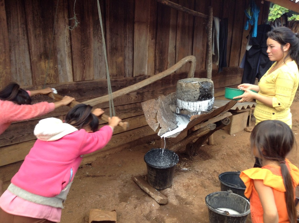 Grinding rice into paste for noodles takes effort from all of the family.