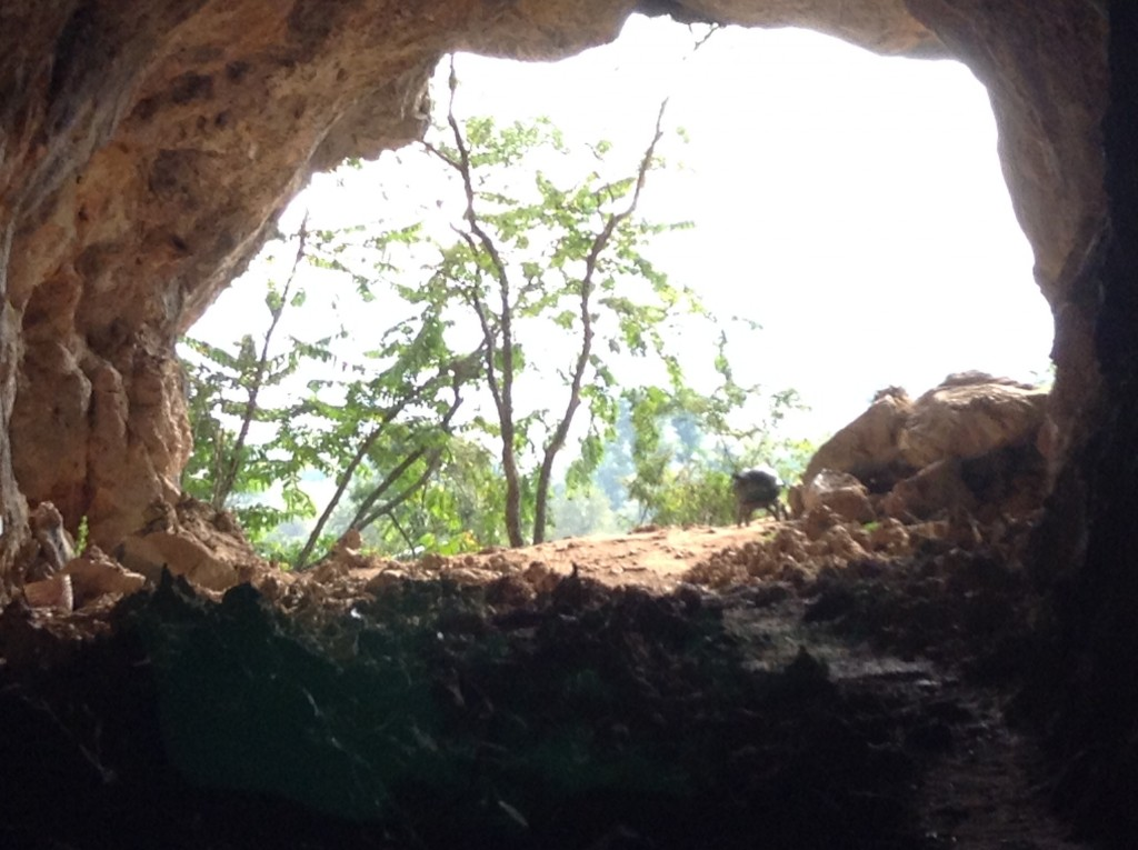 Another view of the cave entrance. You can see the small stacks of stones that stood for small pagotas to assist the people to get into the afterlife.
