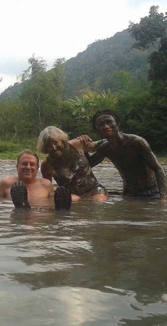 Having a blast with hot mud that you could immediately wash off in the hot springs.