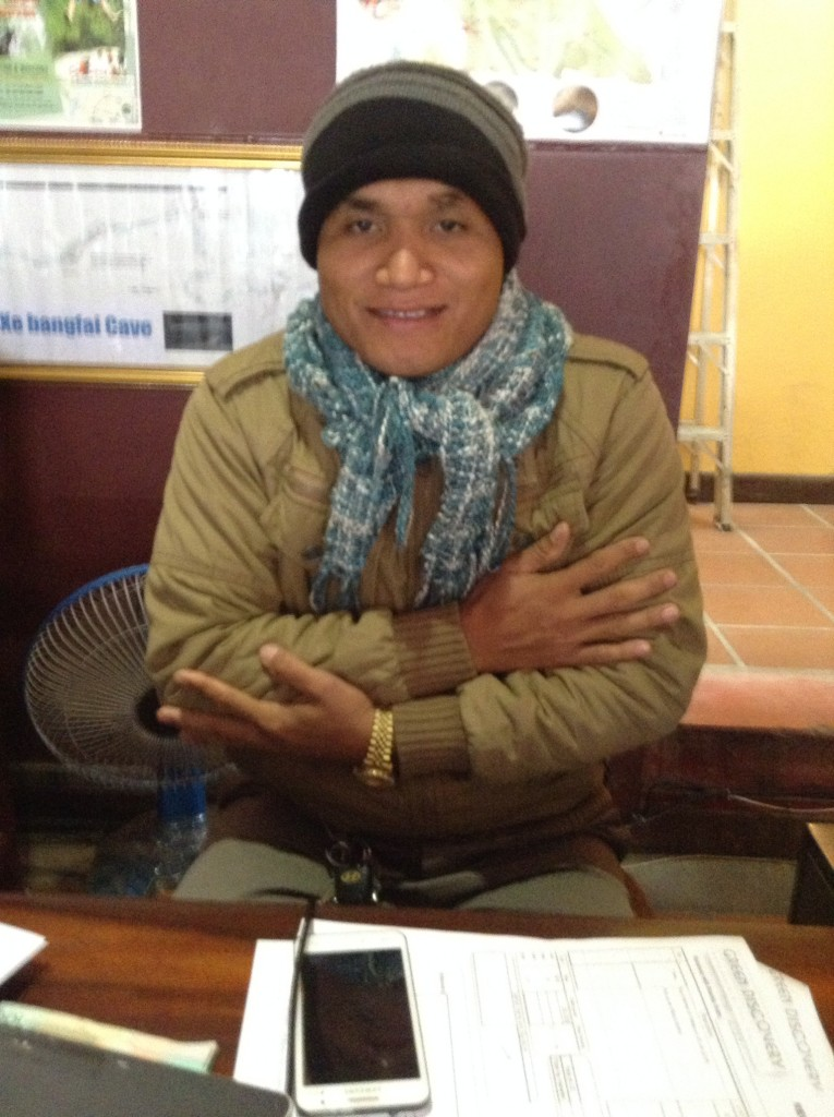 An employee at the Indira Hotel when we arrived. It was cold!