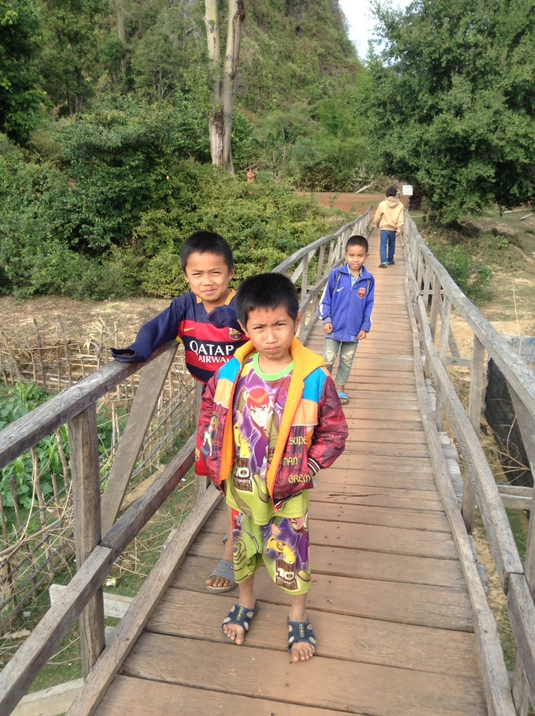 Some kids on our way to the Kong Lor cave.
