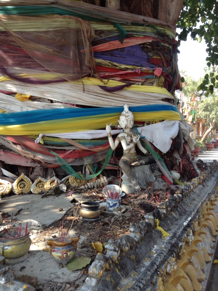 A tree wrapped with cloth and many items of worship along the Mekong river.