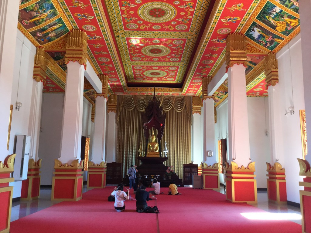 Inside one of the incredible monuments in the area of the Pha That Luang