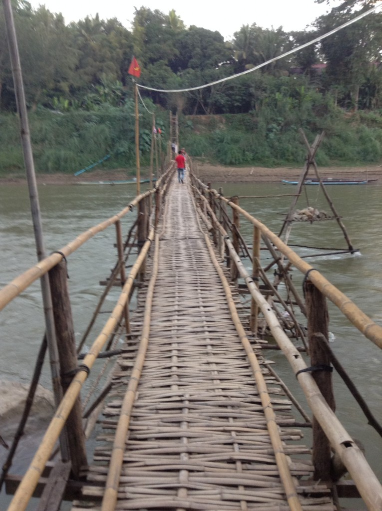 The road less traveled is definitely more interesting! A bamboo bridge.
