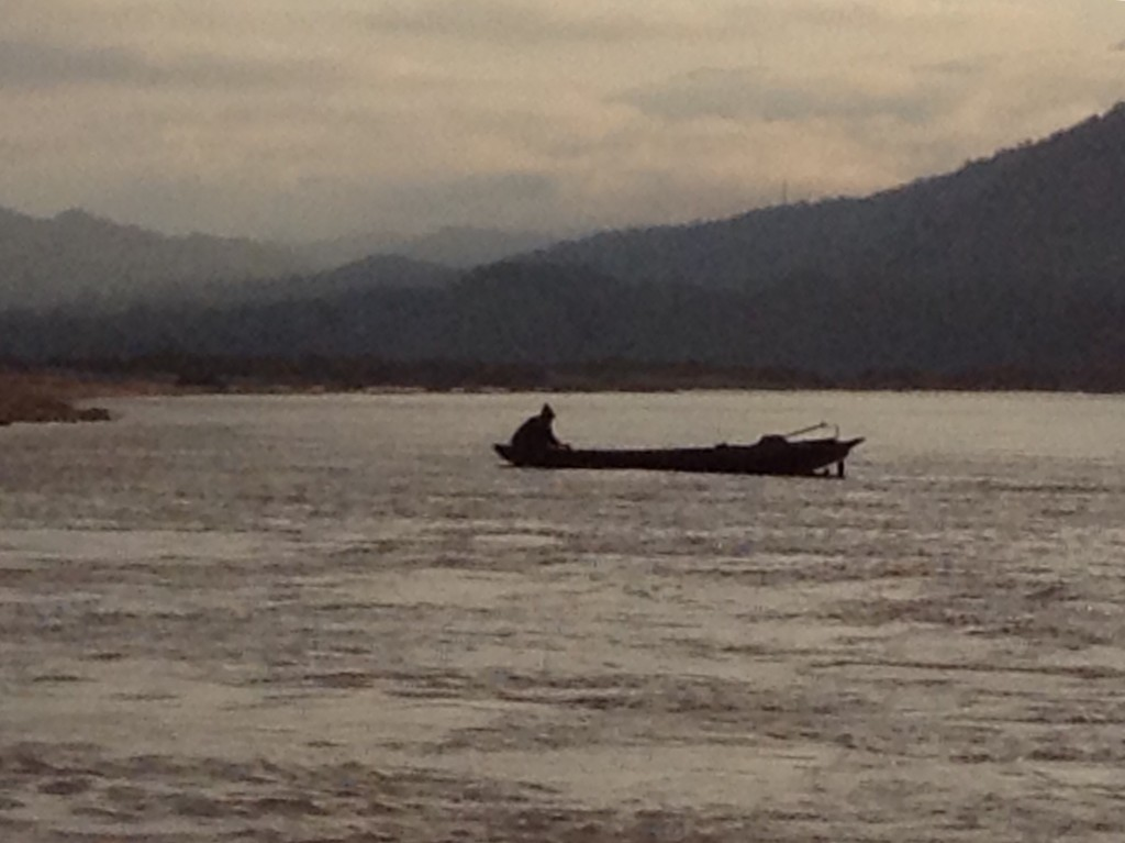 A lonely fisherman along the Mekong.