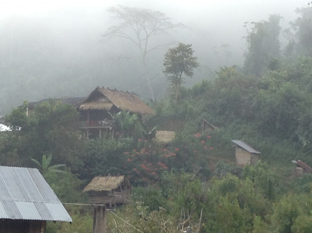 Villages were in the mist in the early hours before noon.