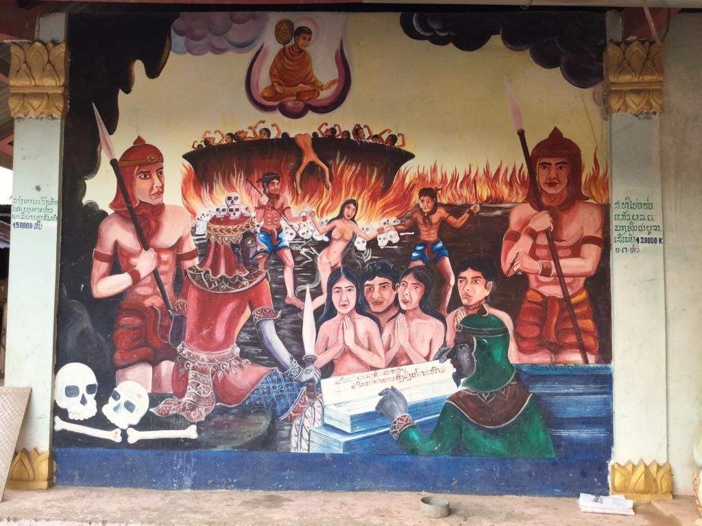 Mural on a wat we saw in a Thai Lu village.