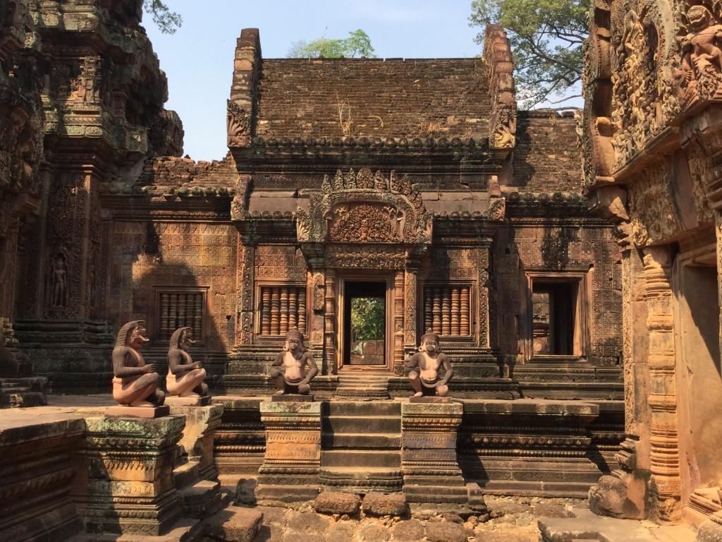 Hanuman guarding the temple doors (perhaps)