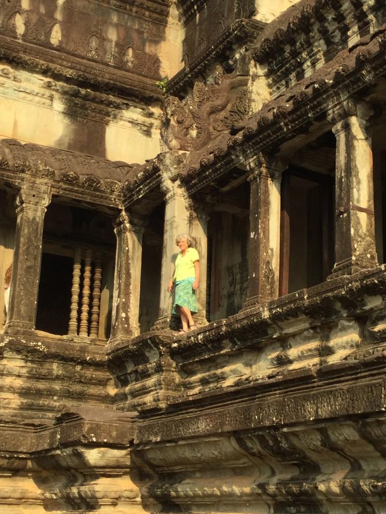 Denise wandering around Angkor Wat.