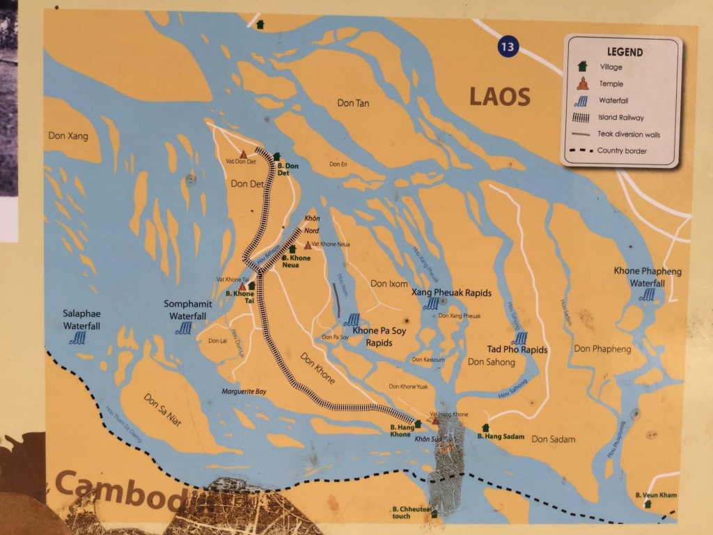 A map of the 4000 island area in Laos.