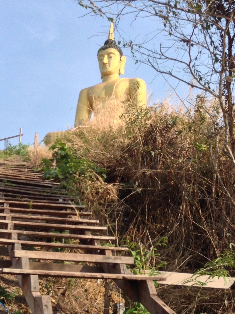 The Buddha on the hill that we had been looking at our entire stay in Pakse. Denise finally climbed up the very rickety stairs to get there!