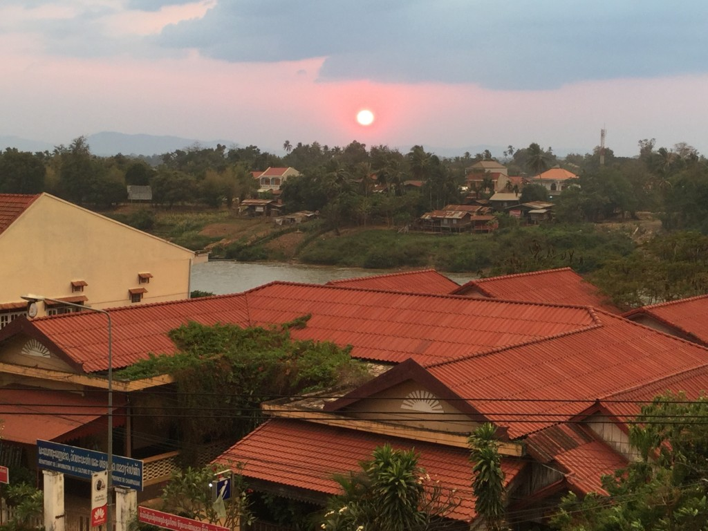 The sunset from our room at the hotel on our first night in Pakse.