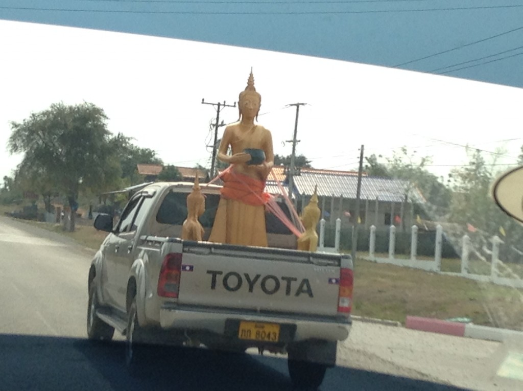 On our way to Pakse, a Buddha being transported to a temple. You wouldn't see this very often in the U.S.!