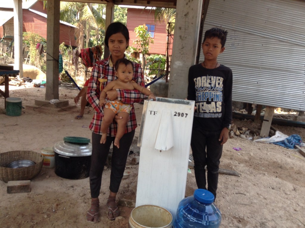 Villagers receive their new water filters. Trailblazers first digs a well. The water still isn't clean enough to stop the spread of disease, thus, the need for the filters. One filter handles the need for about one family.
