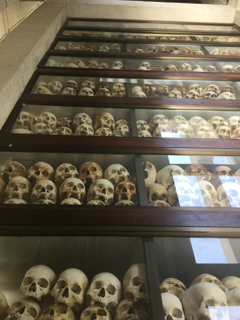 Skulls stored from floor to ceiling.